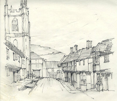 Frank S. Bowden - Early 20th Century Graphite Drawing, Village Scenes