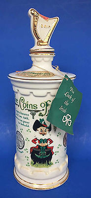 Vintage Old Commonwealth Ceramic Whiskey Bottle - The Coins Of Ireland