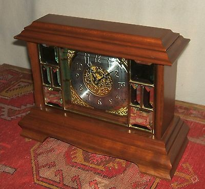 Ansonia Mahogany Mantel Clock with Beveled Mirror Pieces on Front