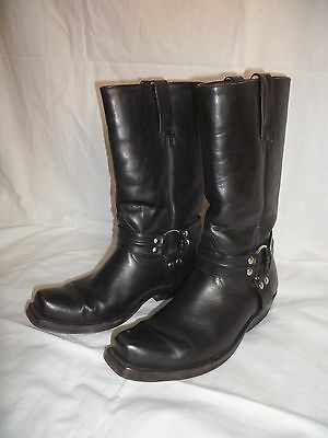 Stivali harness boots cowboy western moto uomo neri in pelle tg.41-42