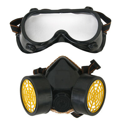 Gas Chemical Guard Anti-Dust Paint Respirator Face Mask w/ Eye Goggles