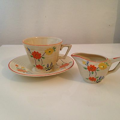Crown Ducal Cup, Saucer and Cream Jug