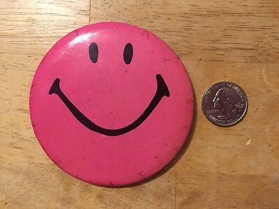 Vintage Large Pink Smiley Face Happy Pin Pinback Button Badge