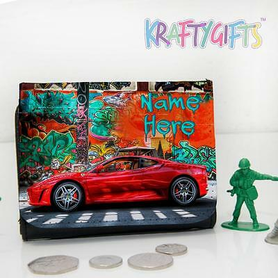 Personalised Graffiti Race Car Boys Childrens Lunch Wallet Money Gift ST465