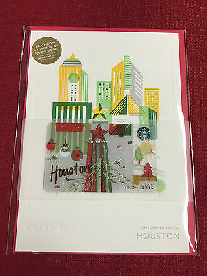 New Starbucks 2016 Houston Holiday City Gift Card Very Limited
