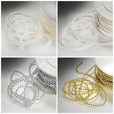3mm PEARL BEADS ON STRING Sewing Cake Trim Wedding Bridal Craft Trimming