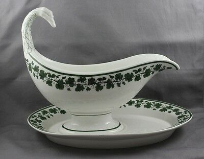 KPM Royal Berlin Green Vine Gravy Boat & Liner 1St Quality Sold Individually