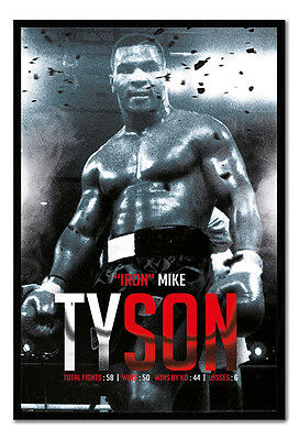 Framed Iron Mike Tyson Boxing Record Poster New