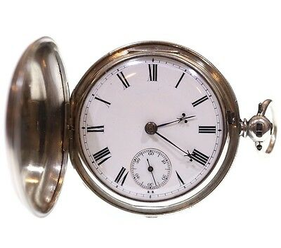 Antique Full Hunter Pocket Watch 1865 Silver Fusee Lever. Serviced