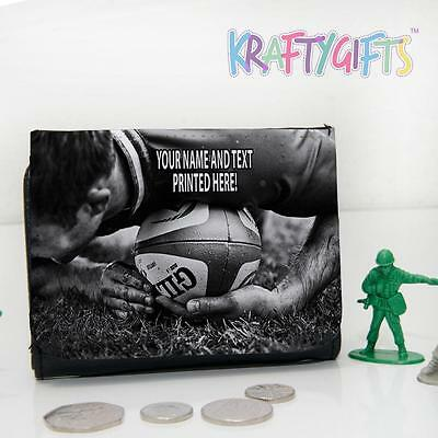 Personalised Rugby Player Boys Childrens Lunch Wallet Money Gift ST476