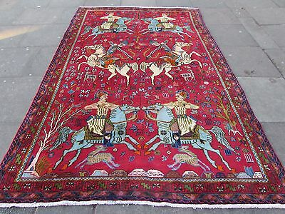 Old Traditional Persian Wool Red Oriental Hand Made Hunting design Rug 305x203cm