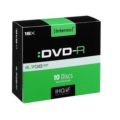 Pack de 10 DVD-R 4.7 GB 16x Speed Intenso (Slim Case)
