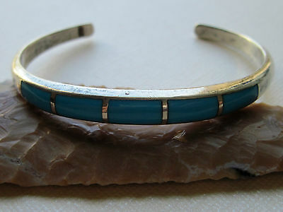 "Vintage Old Pawn Sterling Silver & Turquoise Inlay Bracelet ~ 6.75"" ~ 20 grams"