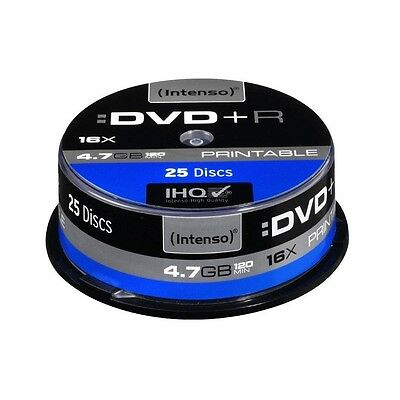 Pack de 25 DVD+R 4.7 GB 16x Speed Intenso imprimable