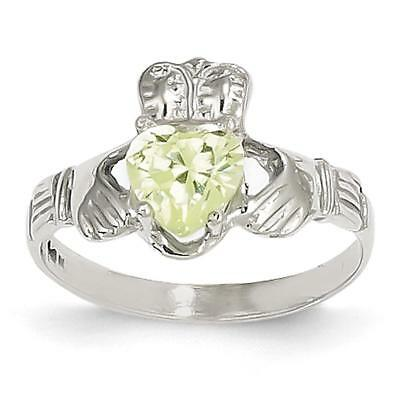 14k White Gold August Birthstone Claddagh Ring R506 Size 5