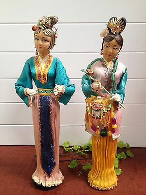 """1970's 2 Japanese Doll Dressed in Silk Costume on Wooden Stand - 15"""" Hong Kong"""