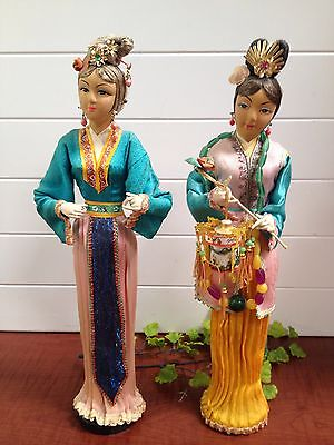 """1970's Two Asian Doll Dressed in Silk Costume on Wooden Stand - 15"""" Hong Kong"""