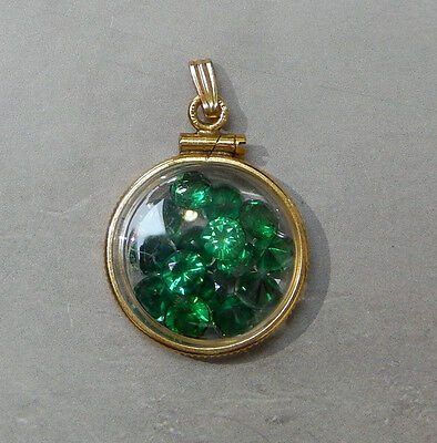 Vintage 10K Gold Filled Pocket Watch Fob Charm With Green Stones #82L