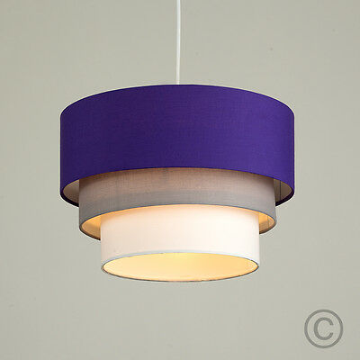 Modern 3 Tier Purple Grey / White Ceiling Pendant Light Lamp Shade Lampshade NEW
