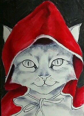 "Original Animal Art - Cat ACEO 2.5"" x 3.5"" - Realism - S. White Red Character"
