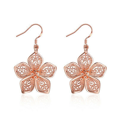"18K Rose Gold Plated Earrings Drop Dangle Fish Hook Antiallergic Flower.84"" L249"