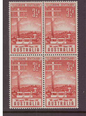 Australia 1954 Anniversary of the Telegraph SG275  block of 4 mint stamps