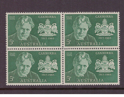 Australia 1963 City of Canberra SG350 block of 4 mint stamps
