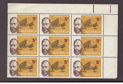 Australia 1965 Celebrities Lawrence Hargrave SG379 block of 9 mint stamps