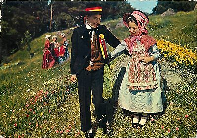 Auvergne France children couple french folklore costumes