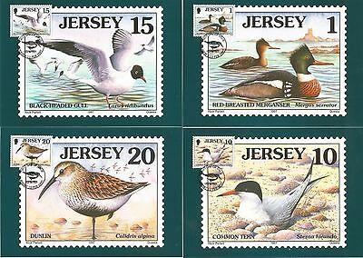 1997 Set Of 8 Jersey Stamped Phq Cards On Birds