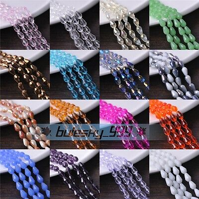 20~100pcs 12X8mm Teardrop Faceted Crystal Glass Loose Spacer Beads DIY Findings