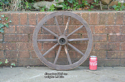 Vintage old wooden cart wagon wheel  / 50.5 cm FREE DELIVERY
