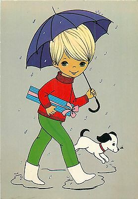 Boy with gift caricature postcard umbrella dog