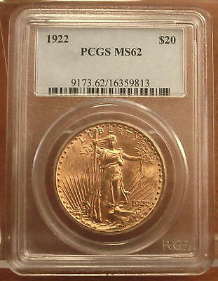 1922 Gold $20 Saint Gaudens Double Eagle Coin ~ PCGS MS62 ~ (#223)