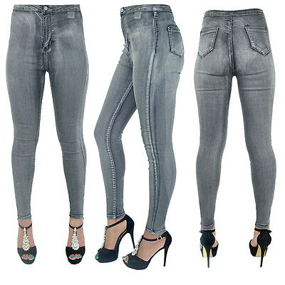 New Womens Ladies High Waisted SkinnyFit Grey Jeans Stretch Denim Girls Jegging