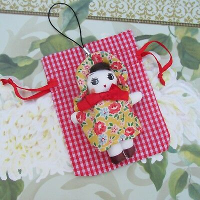 Small Rag Doll in Pretty Floral Dress & Bonnet Party Bags/Wedding/Baby Shower 7c