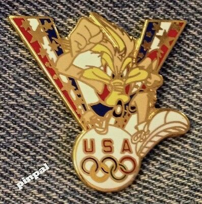Wile E Coyote Pin~Track & Field~Looney Tunes~1996 Olympics~USA Team~5 Rings