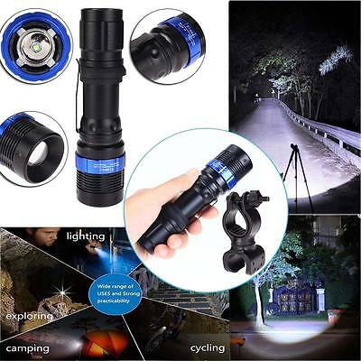 XM-L Q5 LED Flashlight Zoomable attaquant 6000lm Torch+support vélo clip DD