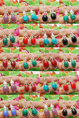20Pairs Dangle Earring Wholesale Lot Mix Gemstone 925 Sterling Silver Overlay