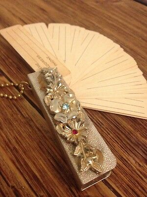 ⭐ Vintage ⭐️Gold w/Gems Floral Portable Unused Address Book/Phone Book Key Chain
