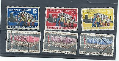 Singapore stamps. 1966 Anniv. Republic & 1967 National Day used. (Y128)