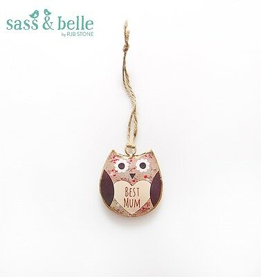 New Best Mum Vintage Metal Owl Mini Decoration Gift Wall Hanging Mother's Day