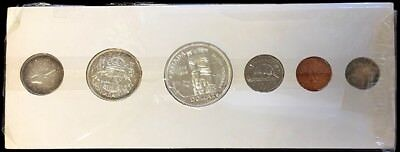 1958 Canada Silver Prooflike 6 Coin Mint Set In Cellophane Cardboard Holder