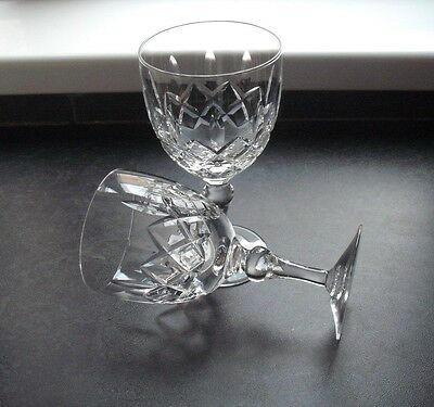 2 cut glass crystal goblet shaped wine glasses