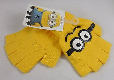 New Despicable Me Yellow Minion Fingerless Knit Gloves