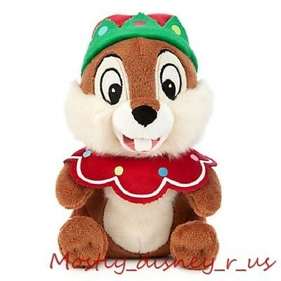 """New Disney Store Exclusive CHIP & Dale Santa Elf Holiday Christmas Plush Doll 7"""""""