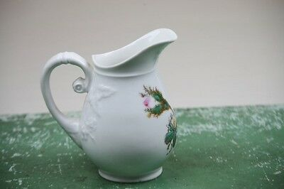Antique Pitcher Jug Moss Rose Pink Flowers Greenery French Porcelain