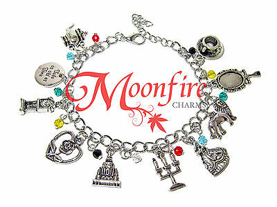 Beauty And The Beast Fandom Charm Bracelet Rose Candelabra Castle Be Our Guest