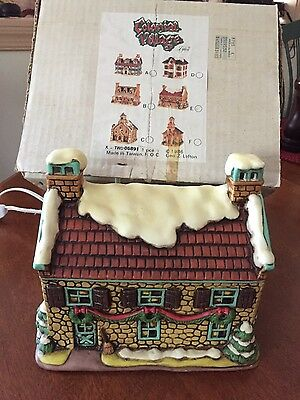 Vintage Lefton Lighted Christmas Colonial Village House