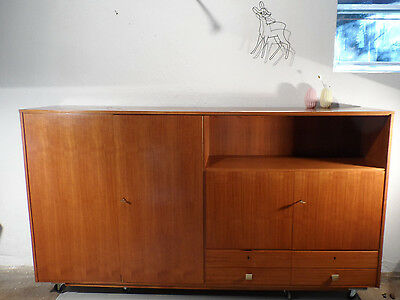 60er Highboard Sideboard 2,2m danish design mid century Kommode puristisch Nuss